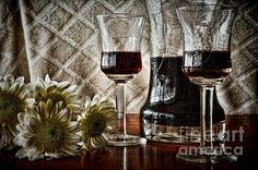 Wine glass and decanter with mums. Watermark will not appear on your print. #wineglasses #winedecanter