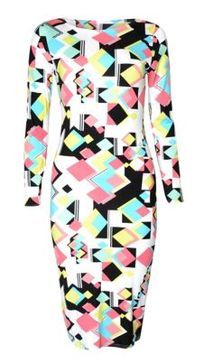 Women's #Fashion Clothing: Dresses: Vip Women's Long Sleeved Geometric #Retro Square Print Midi Dress: Clothes