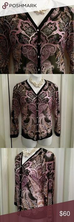 Sheer cardigan blouse Gorgeous cardigan style bouse from INC International Concepts  Size 1X fits like 16W Sheer & stylish over a black tank top or sweater  Feminine paisley pattern in pinks, tan & black 6 Crystal bling buttons down front  1 crystal button on each cuff 💎💎💎 Ribbon finished details on cuffs, collar & down button line seams Stretchy fabric 100% nylon/polyester  25 inches long  23 inches across armpit to armpit flat Perfect for the office paired with a black pencil or jeans…