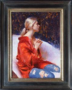 "Prayer in Red by Suchitra Bhosle 24"" x 18"" oil Meyer Gallery"