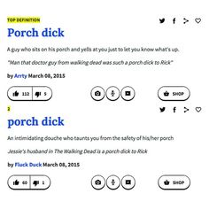 Already on Urban Dictionary. THANK YOU Talking Deadheads for making me the proudest #porchdick in all of Alexandria!!!