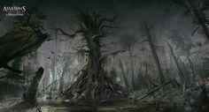 old tree - assassins creed III liberation concept art painted by digital artist nacho yague