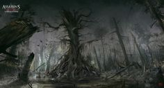 old tree - assassins creed III liberation concept art painted by digital artist nacho yague