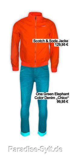 Scotch & Soda Bomer Jacket + One Green Elephant Color Denim    paradise Sylt.  #Fashion #online #shopping #shop #orange #blue #blau #herren #mode #syltfashion #syltlook #fashion2013 #summer2013