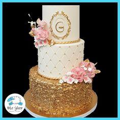 pink and gold wedding cake nj
