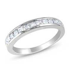 Princess-Cut Lab-Created White Sapphire Eternity Band in Sterling Silver…