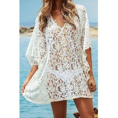 Wholesale Sexy V-Neck Half Sleeve Hollow Out See-Through Women's Cover-Up (WHITE,ONE SIZE(FIT SIZE XS TO M)) | Everbuying