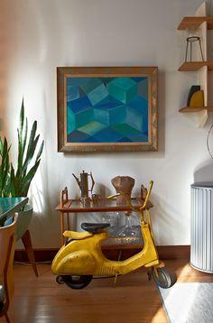 Design Sponge Skeak Peek: Brin Reinhardt & Nathan Ursch of Breuckelen Berber Interior Inspiration, Design Inspiration, Interior And Exterior, Interior Design, Blue Painting, Old Toys, Children's Toys, Mellow Yellow, Antique Shops