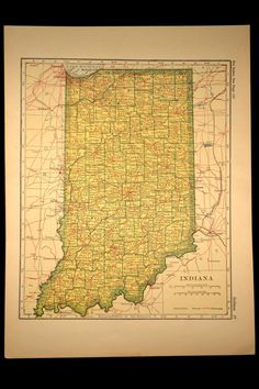Antique Map Indiana State Railroad 1917 Original