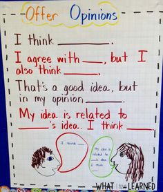 Academic language that students can use when offering an opinion within a class discussion.
