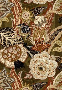 Schumacher Fabric Zanzibar Linen Print Sandalwood 173522 Schumacher-Classics Linen - Horizontal: 29 and Vertical: 58 - My Fabric Connection - Textile Patterns, Textile Art, Print Patterns, Textiles, Motif Floral, Floral Prints, Floral Fabric, Linen Fabric, Pattern Art