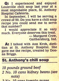 Recipe: St. Anthony's Hospital Cafeteria Chili Soup (75 servings, 1980's) - Recipelink.com
