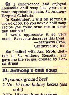 Recipe: St. Anthony's Hospital Cafeteria Chili Soup (75 servings, 1980's) - Recipelink.com