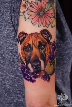 Dog Portrait tattoo with florals and tennisball By Christopher Hedlund - Winterhalo NYC Tattoo Artist tattoos best art illustration illustrator realistic realism drawing painting colorful bright pretty beautiful color New York City Chris floral realism realistic illustration illustrated Dog Portrait Tattoo, Nyc Tattoo Artists, Dog Portraits, Flower Tattoos, Florals, Illustrator, Illustration Art, Bright, Colorful