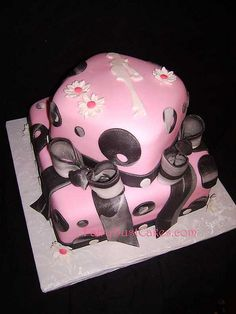 modern mom pink and black baby shower cake by FairyDustCakes, via Flickr