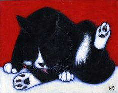 Tuxedo Cat original oil painting. Charlie Cleans Up by Heidi Shaulis