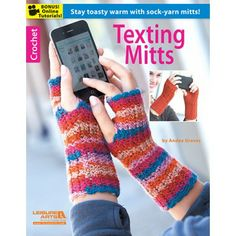When it's cold outside, you need texting mitts! These fingerless gloves keep your hands toasty while you stay in touch. These eight designs by Andee Graves are really soft and comfy to wear because they're crocheted with super fine weight sock yarn. Wiggly Crochet, Crochet Mitts, Crochet Wrist Warmers, Crochet Dishcloths, Crochet Gloves, Hand Warmers, Free Crochet, Knit Crochet, Crochet Fall