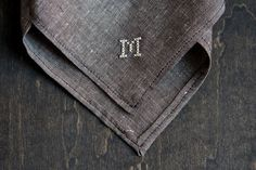 Chambray Handkerchief Custom Cross Stitch Monogram or Date. $44.00, via Etsy.