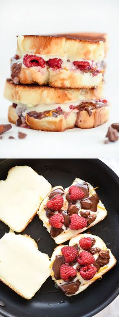 Raspberry and Chocolate with Almonds Grilled Cheese is made even sweeter by using angel food cake for the bread | foodiecrush.com