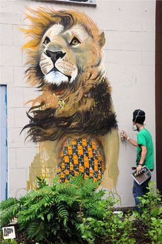 Masai is a street artist with a talent for painting animals. His vivid portraits combine patterns found in man-made fabrics produced in the countries the animals originate from.
