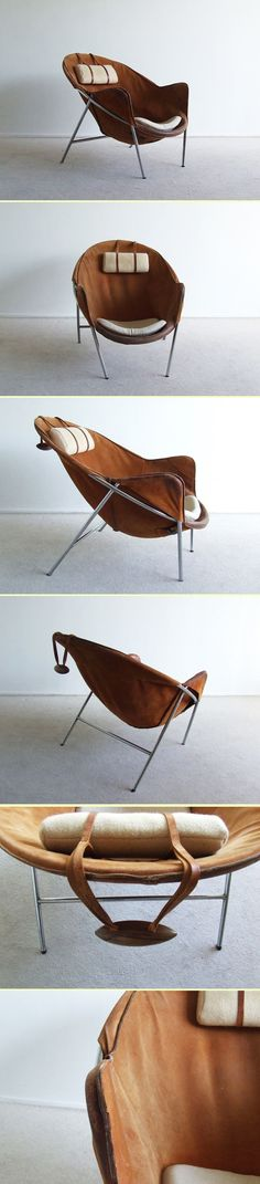 Scandinavian sling chair with cushions // Erik Ole Jorgensen Manufacturer: Bovirke Chaise Chair, Leather Chaise Lounge Chair, Lounge Chair Design, Leather Lounge, Industrial Design Furniture, Vintage Furniture, Furniture Design, Industrial Chic, Furniture Projects