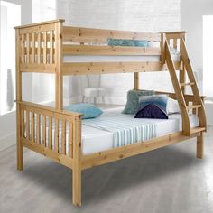 White Polo Wooden Triple 3 Sleeper Bunk Bed Sturdy Including Free