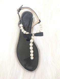 7d18da8fb062c6 Women Flat Sandals - T-Strap BLACK Pearl Sandals With Rhinestones  Embellishments