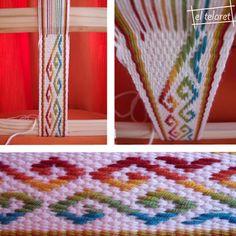 el telaret: tejido Inkle Weaving, Inkle Loom, Card Weaving, Basket Weaving, Tablet Weaving Patterns, Loom Patterns, Types Of Weaving, Weaving Techniques, Spinning