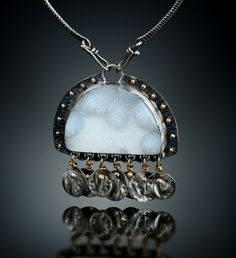 White Druzy Quartz Centerpiece. Fabricated Sterling Silver and 14k Gold.  www.amybuettner.com https://www.facebook.com/pages/Metalsmiths-Amy-Buettner-Tucker-Glasow/101876779907812?ref=hl https://www.etsy.com/people/amybuettner http://instagram.com/amybuettnertuckerglasow