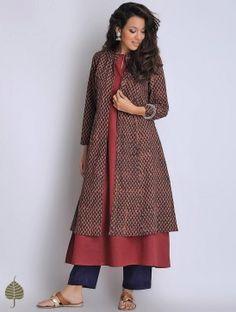 Buy Black Red Hand Block Printed Fadat Cotton Jacket by Jaypore Apparel Jackets… Indian Gowns, Indian Attire, Indian Wear, Indian Outfits, Indian Style, Kurta Patterns, Dress Patterns, Ethnic Fashion, Asian Fashion