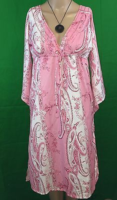 737ba81528 Details about Murval Pink White Paisley Resort Tunic Beach Cover Up Dress  Size S M NWT