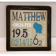12x12 Personalized Birth Stats Sign! Personalized baby shower gift! Birthday gift! gallery wall addition. Newborn gift. New mom gift.