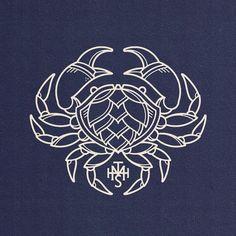 Hop Crab illustration for a brewery Food Logo Design, Logo Food, Crab Illustration, Lobster Art, Crab Art, Noodle Bar, Surreal Collage, Zodiac Art, Sketch Art