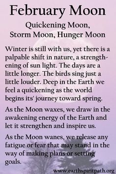 The Earth Spirit Path Lunar Magic, Moon Magic, Magick Spells, Witchcraft, February Full Moon, Full Moon Meaning, Birth Month Quotes, Full Moon Names, Wiccan Spell Book