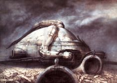 Castle Harkonnen(?) by HR Giger. This was a picture that would be used in the aborted Jodorowsky Dune film. Picture was painted in 1975.