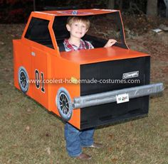Coolest General Lee Dukes of Hazzard Costume 2: My son wanted to be BO DUKE from Dukes of Hazzard.  I knew people might not recognize him so I decided to have him drive the General Lee.  I used 3 cardboard