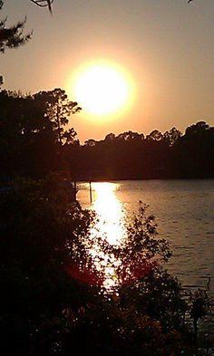 Sun setting over Bay in Panama City, Florida