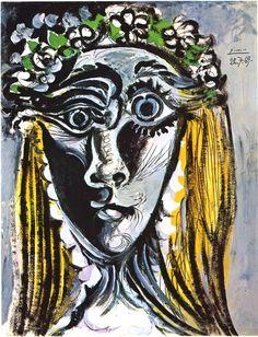 Pablo Picasso, Tête de femme couronnée de fleurs, 1969 on ArtStack #pablo-picasso #art