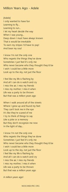 Adele - Million Years Ago lyrics, pdf - Musicandlyrics
