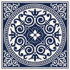 Digital tiles ornate wall art for home decor PRINTABLE Navy Dark Blue Walls, Blue Wall Decor, Wall Tiles, Mosaic Tiles, Cement Tiles, Blue Poster, Geometric Decor, Art Original, Art Mural