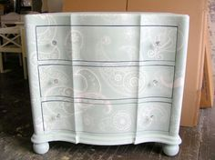 White stencil with white wash on a pale blue background ....gorgeous... Sydney Barton - Painted Furniture