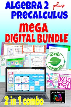 Almost 150 Digital activities, assignments,  and assessments for Algebra 2 and PreCalculus all in one bundle ready for your traditional or distance learning classroom. Many have printable (or send home)  versions and components such as notes, HW and quizzes.  #distancelarningTpT