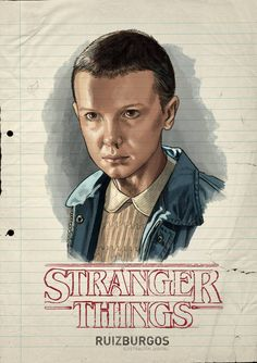 Artist Ruiz Burgos has created a series of great character portraits featuring the main kid characters in the Netflix series Stranger Things. Stranger Things Saison 1, Stranger Things Quote, Stranger Things Aesthetic, Eleven Stranger Things, Stranger Things Netflix, Film Manga, Kid Character, Character Portraits, Millie Bobby Brown