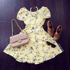 #Amarillo#bolso#zapatos# salida casual*