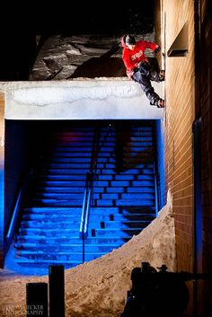 Jacob St. John, Switch Wallride. Boise, Idaho. PHOTO: Tom Uecker | Your Turn Photo Contest: After Dark Winner Announced | TransWorld SNOWboarding Magazine