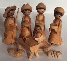 Vintage Ulmik Erzgebirge Germany Wooden Nativity 8 Piece Set