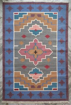 Hand Knotted Cotton Dhurrie Rug 4x6 Navajo Rug by PanjaDhurrie