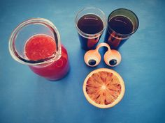 Coffee, blood orange juice