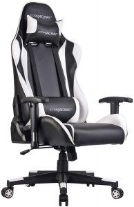 Black//Ivory with Footrest Gaming Chair Chaise Gaming Adjustable Tilt and Angle Ergonomic High-Back Reclining Computer Game Chair with Footrest Racing Entertainment Video Game Chair with Removable Headrest and High Back Cushion Tilt E-Sports Chair