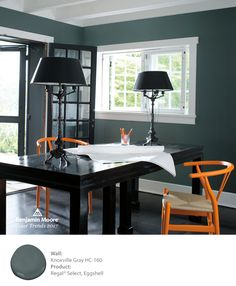 Benjamin Moore's Knoxville Gray HC-160 is stunning as an office backdrop.